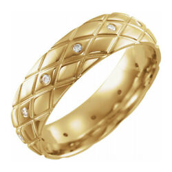 6mm 14k Yellow Gold And Diamond Patterned Comfort Fit Band