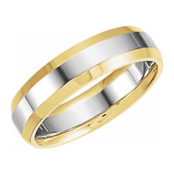 6mm 14k Yellow And White Gold Beveled Edge Comfort Fit Band