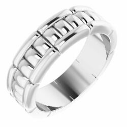 6mm 14k White Gold Grooved Pattern Standard Fit Band
