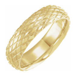 6mm 14k Yellow Gold Crisscross Patterned Comfort Fit Band