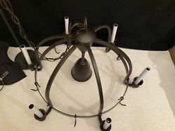 Vintage Wrought Iron Hanging Candelabra With 6 Candelabra Lights And1 Direct