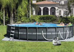 Intex 26and039 X 52 Ultra Frame Above Ground Swimming Pool Set With Pump And Ladder