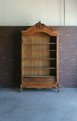 Antique French Armoire Bookcase Rococo Louis Xv Display Cabinet