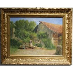 Antique 19th Swiss Original Farm Oil Wood Painting Signed Franandccedilois-adolphe