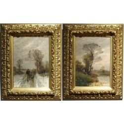Antique 19th Holland Original Landscapes Of Flanders Oil Canvas Pair Painting