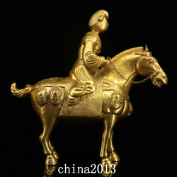China Old Antique Tang Dynasty Palace Temple Bronze 24k Gilt Horse Maid Statue