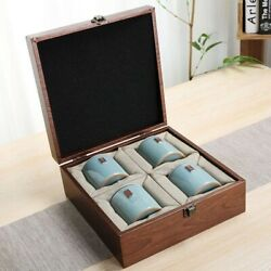 Tea Box Canisters With Wood Box Pottery Jar Packaging Boxes Food Coffee Storage