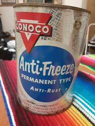 Vintage Conoco Anti Freeze Metal Can Advertisement Cool Man Cave