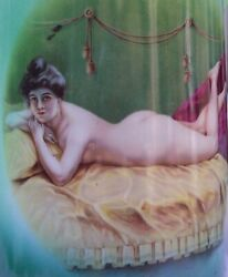 Antique Naughty Victorian Risque Nude Portrait Pitcher Tankard East Liverpool