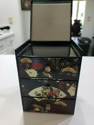 Vintage Japanese Lacquer Jewelry Box Hand Crafted By Otagiri 3 Drawers And Mirror