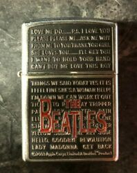 Vintage Retired Unstruck Zippo Lighter 2005 The Beatles Song Titles Classic Rock