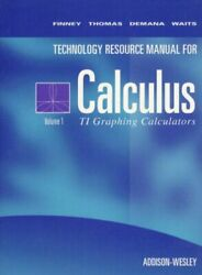 Calculus Texas Instruments Technical Resource Manual By Ross Finney Mint
