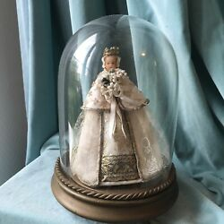 """Vintage French Doll Glass Wedding Dome Wax Face Wood Base Display 11"""" Antique"""