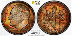 1953 D Silver Roosevelt Dime Pcgs Ms67 - Full Band Fb Brilliant Fiery Toning