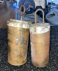 Pair Of Early American Can Weight Shells For Antique Grandfather Clocks- Sand