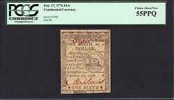 Fr Cc-19 1/6 Feb. 17 1776 Continental Currency Pcgs 55 Ppq - Fugio Note
