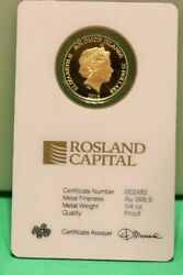 2016 Solomon Islands Statue Of Liberty 1/4oz 9999 Gold Coin In Assay
