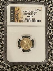 2014 1/10 Oz Gold American Eagle Ms-70 Ngc Early Release Box