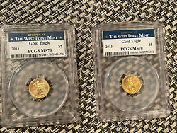 2lot Of 2 2013 5 Gold Eagle Pcgs Ms70 1/10th Oz Struck At The West Point Mint