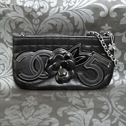 Rise-on Chocolate Bar Black Leather Camellia No. 5 Chain Pouch Bag 2355