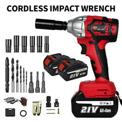 Cordless Electric Impact Wrench Gun 1/2and039and039 Driver 520nm/li-ion Battery High Power