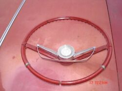 1964 1965 Pontiac Gto Lemans Tempest Rare Red Steering Wheel And Horn Bar And Cap Gm