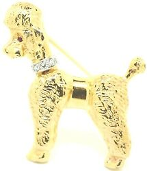 Poodle Genuine Ruby And Diamond Brooch - 14k Yellow And White Gold Pin Dog Textured