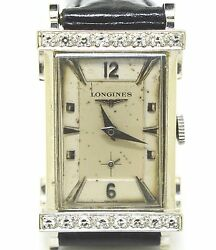 Vintage Longines Tophat 14k Solid White Gold Diamond Bezel Manual 1940s Watch