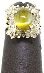 Unique 2 Ct Chrysoberyl Cats Eye Ring In 14k White Gold W/ Diamonds 1.80ct
