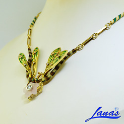 Antique 18k Yellow Gold Diamond Emerald Dragon Fly Necklace