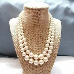 Double Layered Faux Pearls Necklace Z07 Work School Classic White Zoom Jewelry