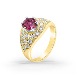 Natural Red Ruby Diamond And Gold Retro Vintage Ring-14k Yellow Gold