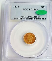 1874 Gold 1 Dollar Indian Head Coin Pcgs Mint State 63 Cac