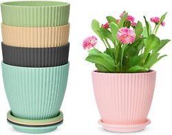 5 Packs 6 Inch Plastic Planters With Saucers Modern Decorative Garden Plant Pots
