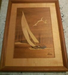 Vintage Hudson River Inlay Marquetry Sailing Boat 13in X 9.5in Signed Nelson