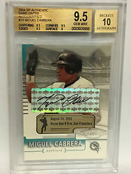 Miguel Cabrera 2004 Sp Authentic Game Dated Auto 1/1 Bgs 9.5 Pop Only 1