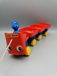 Vintage Toy Rare Weebles Wobble Wagon Train 70s 80s Childrens Kids Pull Along
