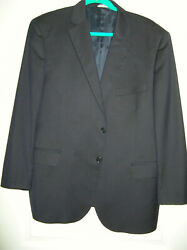 Recent  44r Navy 2-button Wool-silk Suit Made In Italy S3