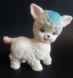 Vintage Rubber Sheep Lamb Squeak Toy 1950s White Blue Pink Taiwan 5 Squeeze