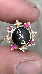 Very Rare 10k Gold Delta Chi Delta Fraternity Sorority Pin Ruby And Pearl 5.2g