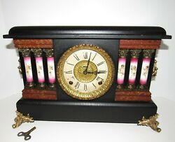 Antique E. Ingraham Adamantine Mantel Clock 8-day, Time/bell And Gong Strike
