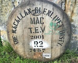 Very Rare 2001 Macallan Whisky Barrel Lid - Braced And Ready To Hang - 23 Wide