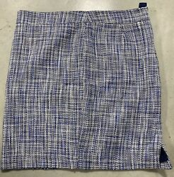 Kenar - Womens Skirt - Size 12 Blue/white Cross Thatched Pattern