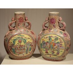 Antique 19th China Porcelain Pair Rare Chinese Vases With Dragon Handles 43cm