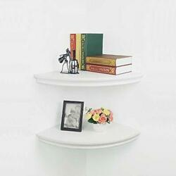 Floating Corner Shelves Wall Mounted,set Of 2 Radial 17 Inch Classic Type White