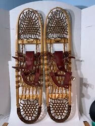 Vintage 1998 Wooden Snowshoes By Boutin Vt Red Leather And Brass Straps 9x36