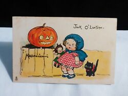 Rare Campbell Kid W/doll,cat And Jol Is Scaring Her-halloween Postcard-tuck