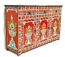 Moroccan Painted Sideboard Buffet Cabinet Red Authentic Handmade Cupboard