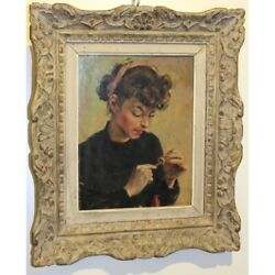 Vintage 20th France Original Young Girl Oil Wood Painting Signed Roger Allain