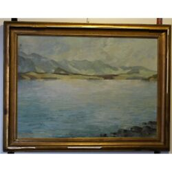 Antique 1932 Swiss Original Lake Of Thoune Oil Canvas Painting Signed -karl Wirz